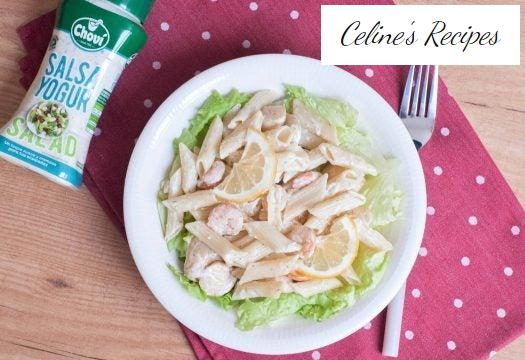 Pasta salad with shrimp and scallops
