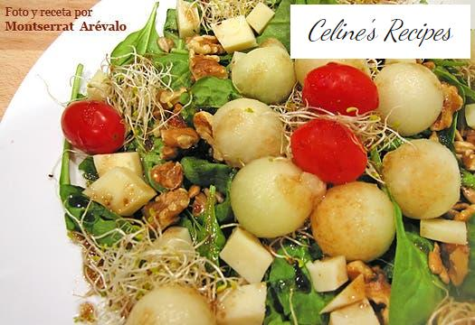 Salad with spinach sprouts, melon, sprouts and nuts