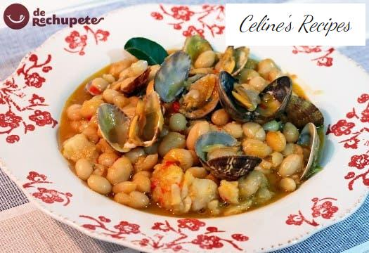 Fabes with cod and clams