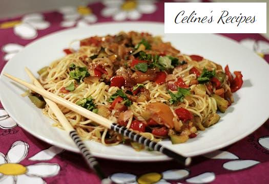 Chinese noodles with vegetables, bacon and a touch of Dijon mustard
