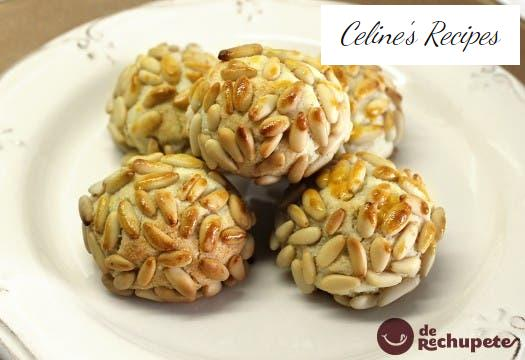 Homemade marzipan with pine nuts