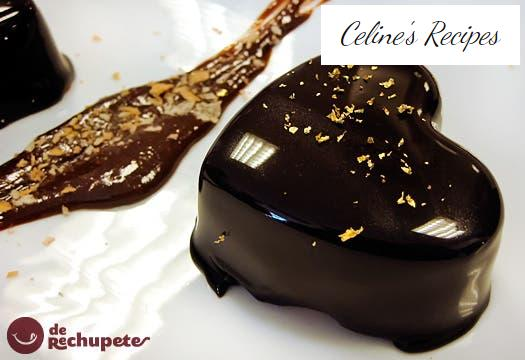 Chocolate mousse with shiny frosting or mirror chocolate