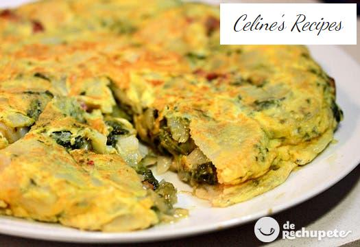 Omelette with turnip greens and chorizo