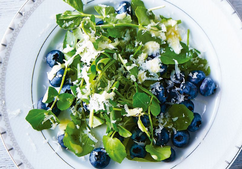 Blackberry and watercress salad with parmesan