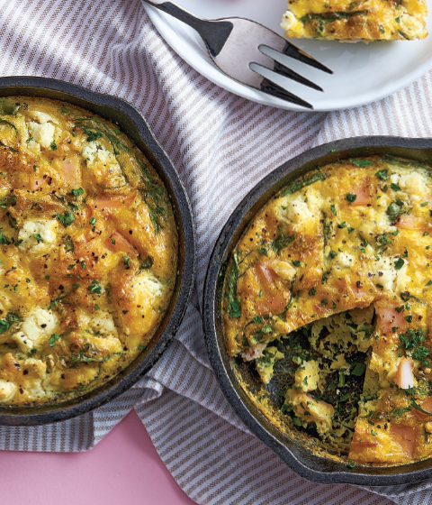 Ham Frittata with Spinach and Goat Cheese